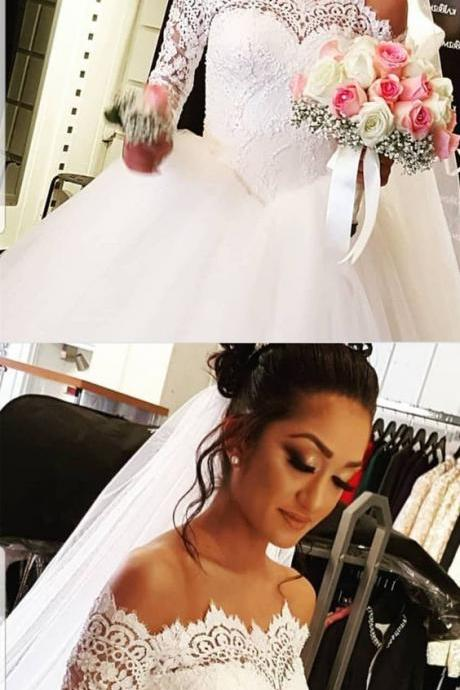 Vintage Lace Long Sleeves Tulle Ball Gowns Wedding Dresses Off The Shoulder Wedding Dress