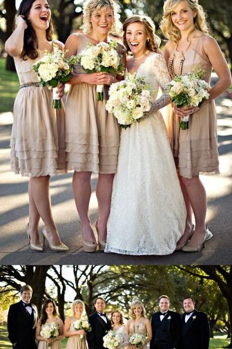 Long Tiered Bridesmaid Dresses, Simple Bridesmaid Dresses, Light Champagne Bridesmaid Dresses