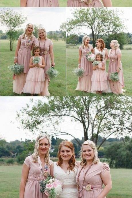 V-Neck Long Bridesmaid Dresses, Blush Tulle Bridesmaid Dresses, Ruffled Bridesmaid Dresses