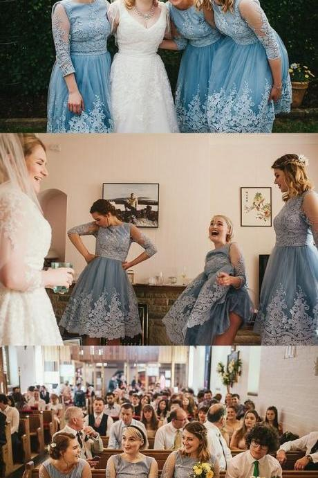 Blue Tulle Bridesmaid Dresses with Lace, Light Prom Dresses,Elegant Bridesmaid Dresses with sleeves