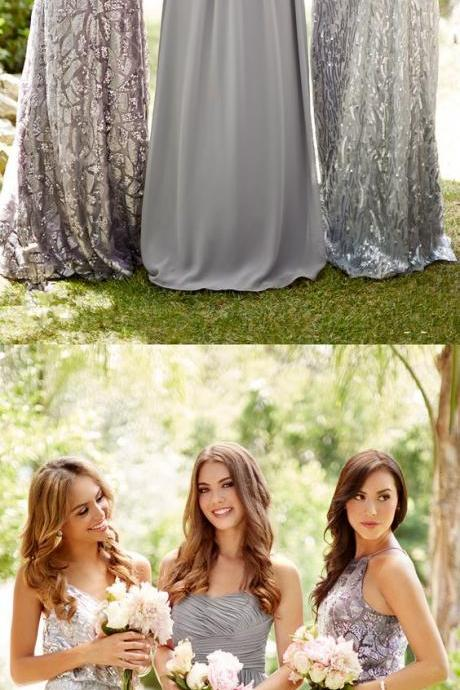 Strapless Grey Bridesmaid Dresses, Long Bling Bridesmaid Dresses, Sparkly Bridesmaid Dresses