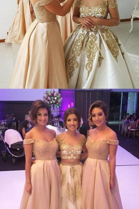 champagne off the shoulder bridesmaid dresses, elegant beading bodice evening party dresses, a line satin prom dresses