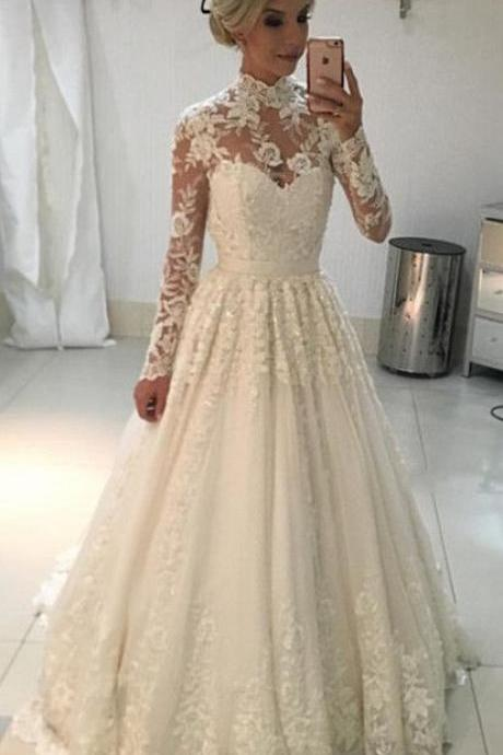 Vintage A-line High Neck Long Sleeves Lace Wedding Dresses Floor Length Bridal Gowns
