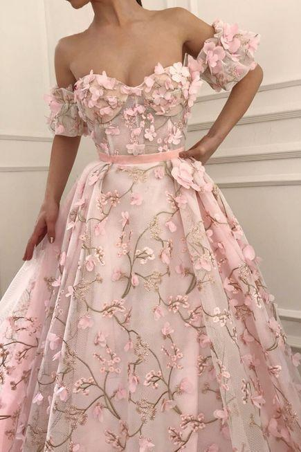 Pink Floral Appliques Off-The-Shoulder Sweetheart Floor Length Tulle Prom Gown