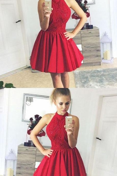 A-Line Halter Backless Red Satin Homecoming Dress with Lace