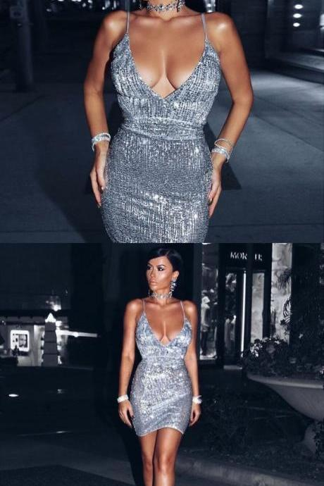 Sheath Spaghetti Straps Backless Silver Sequin Short Prom Dress