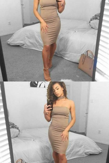 Sheath Strapless Light Champagne Short Prom Dress