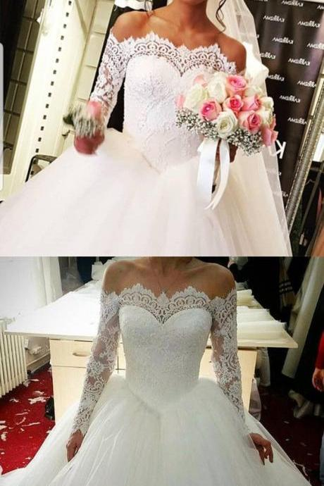 Elegant Off The Shoulder Wedding Dresses Ball Gowns Long Sleeves Wedding Dress