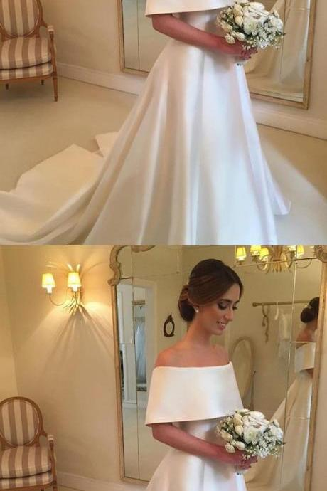 A-line Off The Shoulder Satin Wedding Dresses For Bride