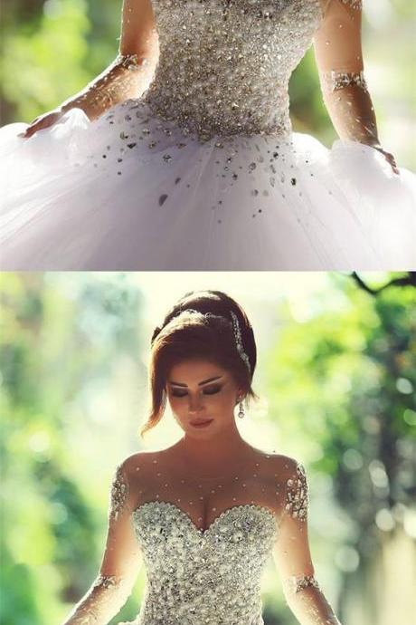 Luxurious Crystal Pearl Beaded Long Sleeves Ball Gowns Wedding Dresses For Bride
