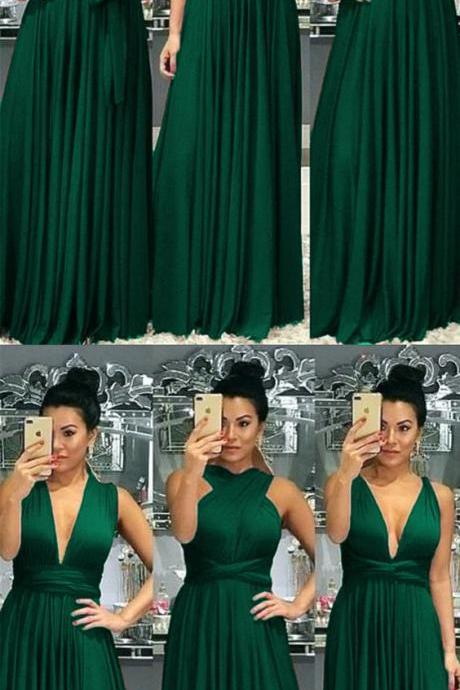 Emerald Green Bridesmaid Dresses,Mixed Style Bridesmaid Dresses,Long Bridesmaid Dresses,Convertible Bridesmaid Gowns