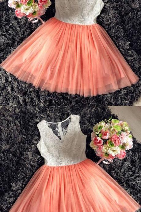 Illusion Back V-Neck Coral Short Homecoming Dress with Lace
