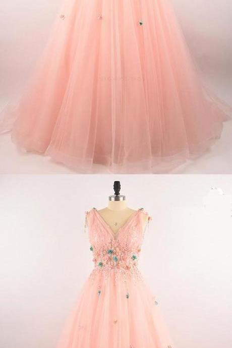 Gorgeous A Line Chic Prom Dresses Floor-length Pink Prom Dress Evening Dress