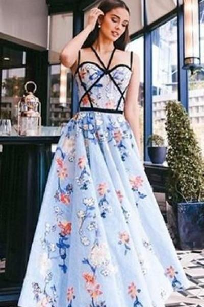 Fashion Blue Floral Prints Criss-cross Prom Dresses,
