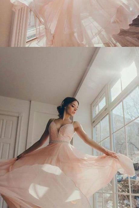 Pink v neck sequins long prom dress, evening dress