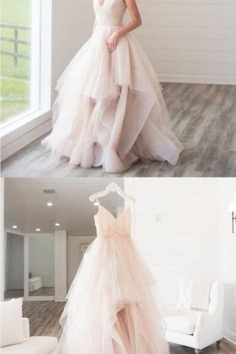 Custom made v neck tulle long prom dress, wedding dress
