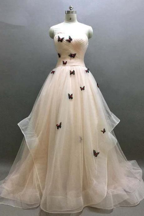 Ivory Sweetheart Ruffle Prom Dress, Beautiful Butterfly Appliques Lace Up Prom Dress, Prom Dresses,