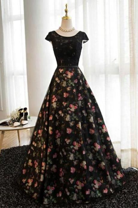 Chic Floral Prom Dresses Long A-line Scoop Print Prom Dress Evening Dress