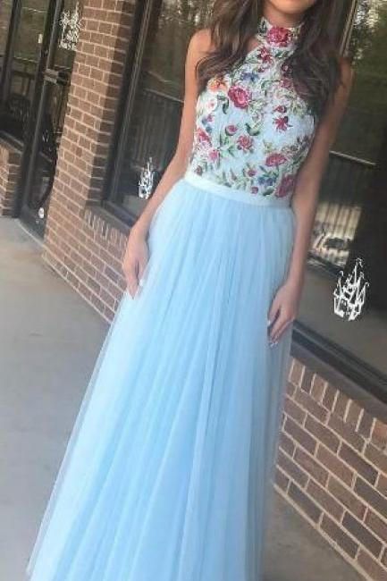 Gorgeous High Neck Two Piece Sky Blue Long Prom Dress with Embroidery