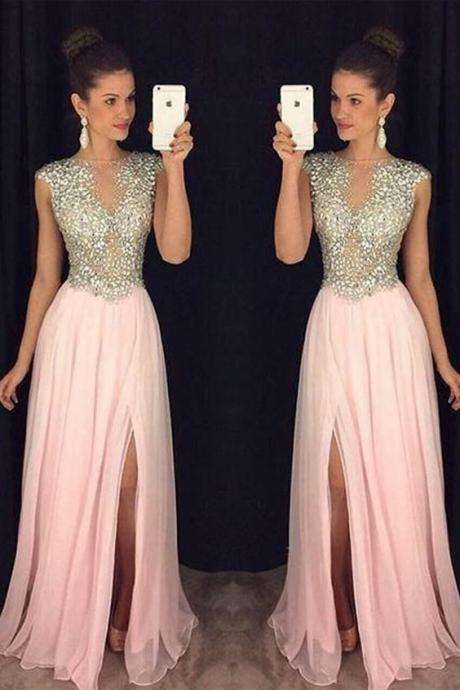 A Line Round Neck Pink Chiffon Split Long Prom Dresses with Beading