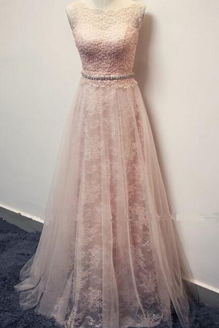 Lace Prom Dresses,Princess Prom Dress,ModestProm Gown,Pearl Pink Prom Gown,Elegant Evening Dress,Tulle Evening Gowns