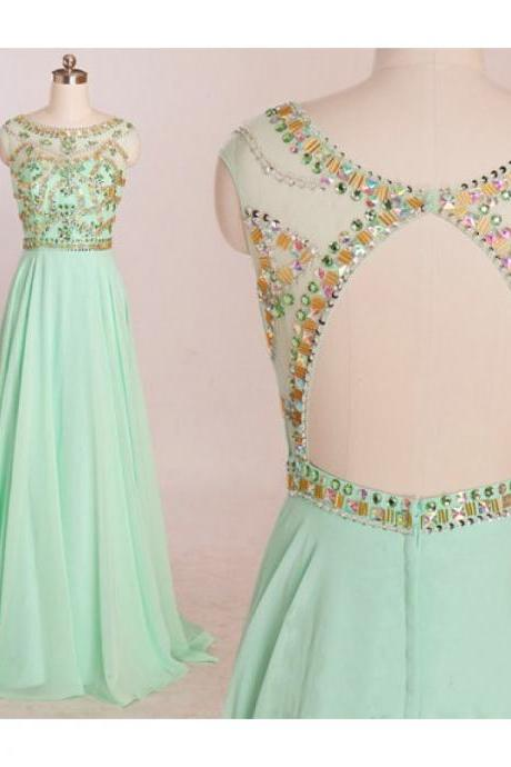 Mint Prom Dresses,Backless Prom Dress,Beading Prom Dress,Open Back Prom Dress,Chiffon Prom Dress,Beading Evening Gowns,2016 New Prom Gowns For Teens