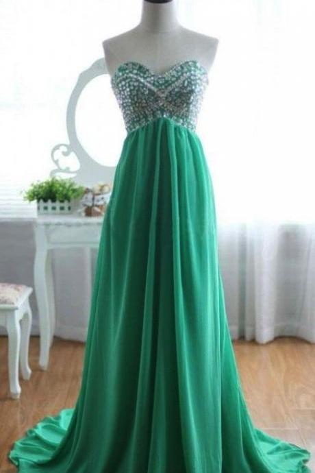 Green Prom Dresses,Chiffon Evening Gowns,Modest Formal Dresses,Beaded Prom Dresses,2016 New Fashion Evening Gown,Cheap Evening Dress,Beading Evening Gowns