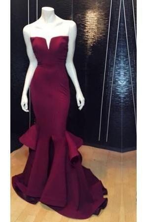 Burgundy Prom Dresses,Mermaid Prom Dress,Satin Prom Dress,Strapless Prom Dresses,2016 Formal Gown,Corset Evening Gowns,Wine Red Party Dress,Mermaid Prom Gown For Teens