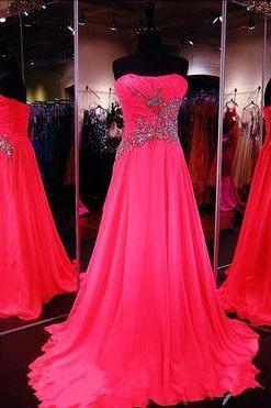 Chiffon Prom Dresses,Strapless Prom Dress,Modest Prom Gown,Sparkly Prom Gowns,Beading Evening Dress,Sparkle Evening Gowns,2016 Party Gowns