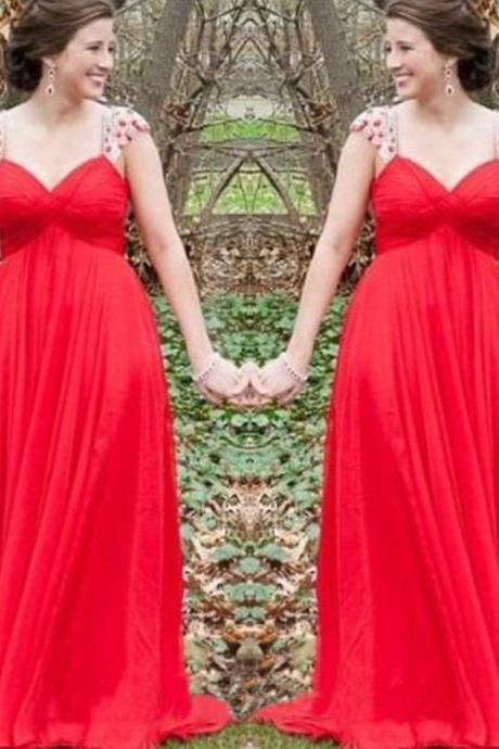 Chiffon Prom Dresses,Straps Prom Dress,Modest Evening Gown,Sparkly Prom Gowns,Beading Evening Dress,Sparkle Evening Gowns,2016 Red Prom Gowns,Backless Evening Gowns