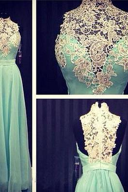 Mint Green Prom Dresses,2016 Evening Dresses,New Fashion Prom Gowns,Elegant Prom Dress,Lace Prom Dresses,Chiffon Evening Gowns,High Neck Formal Dress