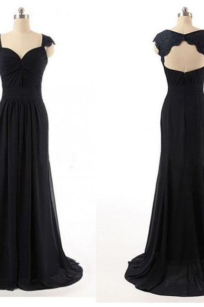Black Prom Dress,Mermaid Prom Dress,Lace Prom Gown,Backless Prom Dresses,Sexy Evening Gowns,Cap Sleeves Evening Gown,Open Back Party Dress,Chiffon Formal Gowns For Teens