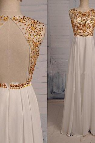 White Prom Dresses,Beaded Evening Dress,Sexy Prom Dress,Beading Prom Dresses,Backless Prom Gown,Elegant Prom Dress,Open Back Evening Gowns,Long Party Dress With Gold Beads for Teen