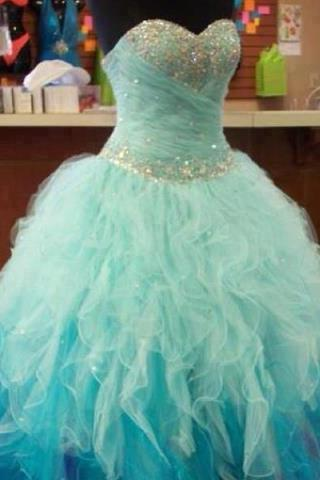 Blue Prom Dress,Ball Gown Prom Dress,Princesses Prom Gown,Beaded Prom Dresses,Sexy Evening Gowns,Light Blue Evening Gown,Sexy Graduation Dress For Teens