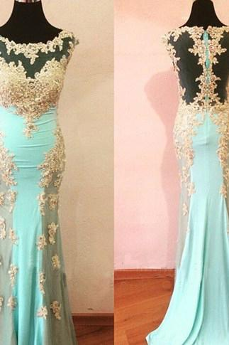 Blue Prom Dresses,Chiffon Prom Gowns,Lace Prom Dresses,2016 Party Dresses,Long Prom Gown,Mermaid Prom Dress,Sparkly Evening Gowns,Backless Prom Gowns,Gold Appqliques Bodice Evening Gowns