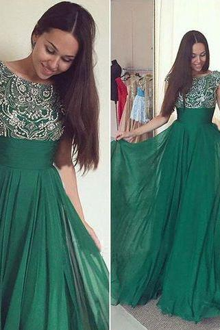 Green Prom Dresses,Silver Beadings Evening Gowns,Modest Formal Dress,Beaded Prom Dresses,Long Evening Gown,Evening Gowns With Cap Sleeves,Chiffon Party Dress,Sparkly Formal Gowns