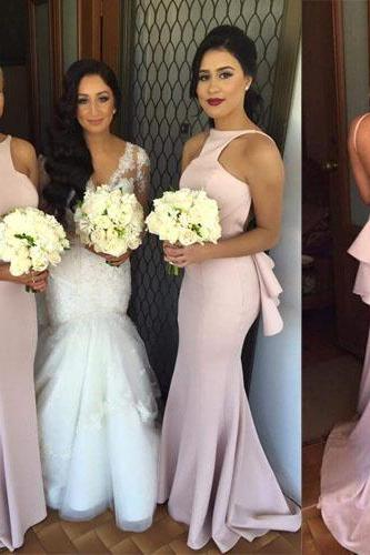 Pink Bridesmaid Gown,Backless Prom Dresses,Satin Prom Gown,Simple Bridesmaid Dress,Cheap Bridesmaid Dresses,Fall Wedding Gowns,Open Back Bridesmaid Dresses,Hot Pink Bridesmaid Gown