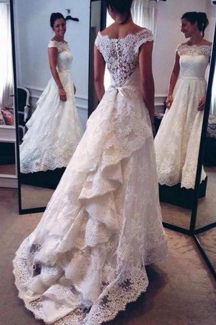 White Wedding Dresses,Long Wedding Gown,Lace Wedding Gowns,Modest Bridal Dress,Wedding Dress With Cap Sleeves,White Brides Dress,Elegant Wedding Gowns