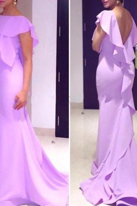 Lavender Prom Dresses,Simple Prom Dress,Sexy Prom Dress,Backless Prom Dresses,2016 Formal Gown,Chiffon Evening Gowns,Mermaid Party Dress,Prom Gown For Teens