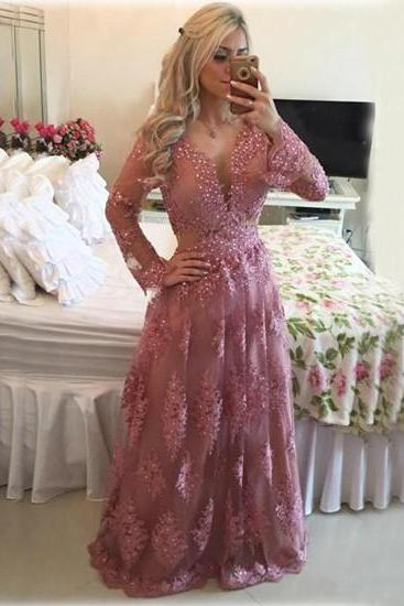 Lace Prom Dresses,Pink Prom Dress,Modest Prom Gown,Backless Prom Gowns,Beaded Evening Dress,Princess Evening Gowns,Sparkly Party Gowns,Backless Prom Gowns,Open Back With Long Sleeves Evening Dress