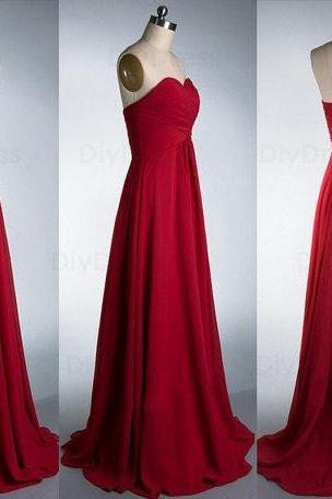 Red Bridesmaid Gown,Pretty Prom Dresses,2016 Prom Gown,Simple Bridesmaid Dress,Cheap Evening Dresses,Fall Wedding Gowns,Sweetheart Bridesmaid Dresses,2016 Spring Bridesmaid Gown