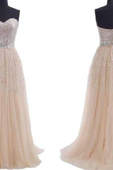Tulle Prom Dresses,Champagne Prom Dress,Modest Prom Gown,Sequins Prom Gowns,Sequined Evening Dress,Princess Evening Gowns,Sparkly Party Gowns,Long Prom Gowns,Evening Dress