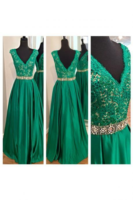 Green Prom Dresses,V neckline Prom Dress,Sexy Prom Dress,Hunter Green Prom Dresses,2016 Formal Gown,Lace Evening Gowns,Taffeta Party Dress,Prom Gown For Teens