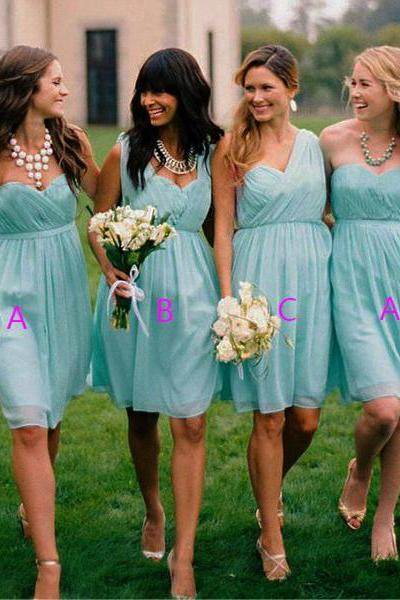 Blue Bridesmaid Dresses,Knee Length Bridesmaid Gown,Summer Bridesmaid Gowns,Beach Bridesmaid Dress,Cheap Bridesmaid Gown,Fall Bridesmaid Dress,Spring Bridesmaid Gowns For Modest Brides