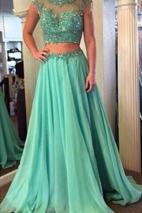 Beaded Prom Dresses,Beading Prom Dress,Mint Green Prom Gown,2 Pieces Prom Gowns,Elegant Evening Dress,A Line Evening Gowns,2 Piece Evening Gowns,Simple Prom Dress With Cap Sleeves