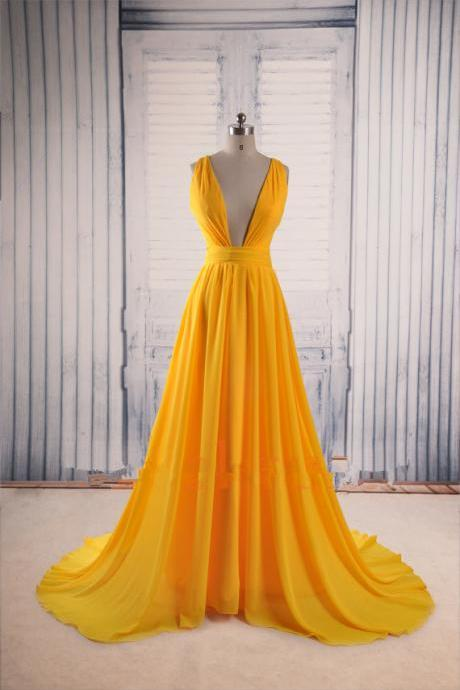 Yellow Prom Dresses,Backless Prom Gown,Open Back Evening Dress,Chiffon Prom Dress,Sexy Evening Gowns,Yellow Formal Dress,Wedding Guest Prom Gowns,2016 Evening Gowns