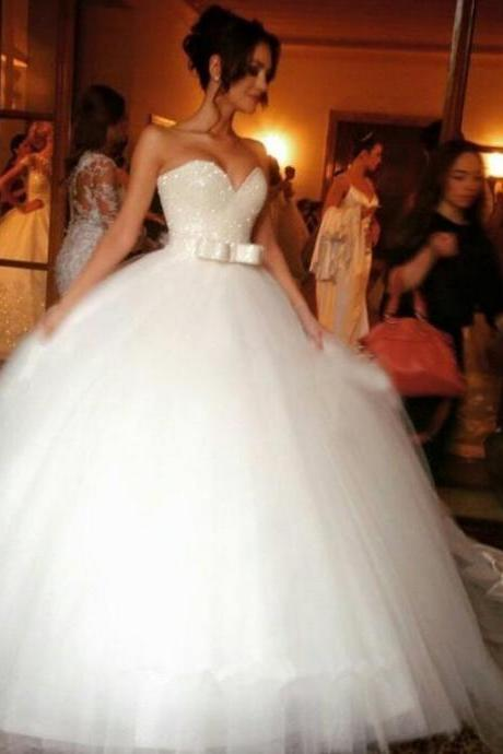 White Wedding Dresses,Tulle Wedding Gown,Tulle Wedding Gowns,Mermaid Bridal Dress,2016 Princess Wedding Dress,Beautiful Brides Dress,Wedding Gowns For Spring Summer