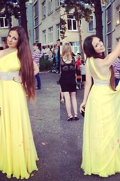 Prom Gown,Yellow Prom Dresses,One Shoulder Evening Gowns,Simple Formal Dresses,Yellow Prom Dresses 2016