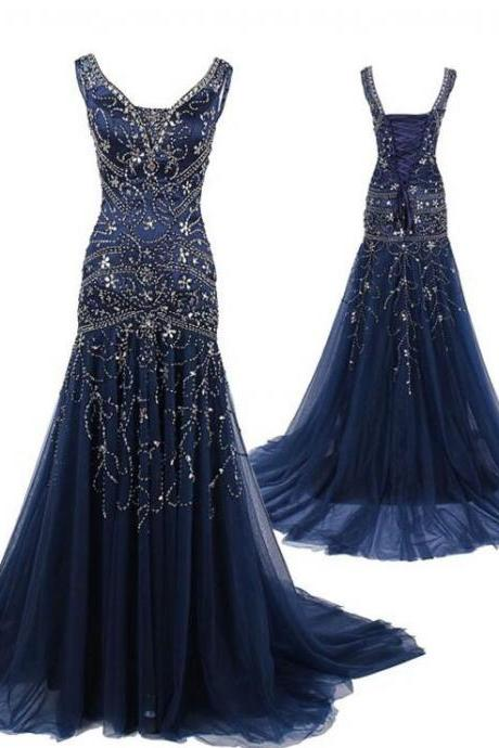 Navy Blue Prom Dresses,V neckline Prom Dress,Sexy Prom Dress,Dark Navy Prom Dresses,2016 Formal Gown,Tulle Evening Gowns,Party Dress,Prom Gown For Teens