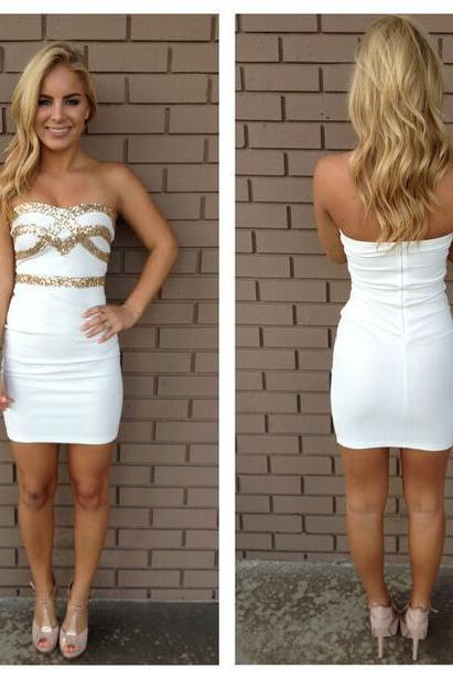 White Homecoming Dress,Sparkle Homecoming Dresses,New Style Homecoming Gowns,Fashion Prom Gowns,Classy Sweet 16 Dress,Homecoming Dresses,Cocktail Dress,Evening Gowns